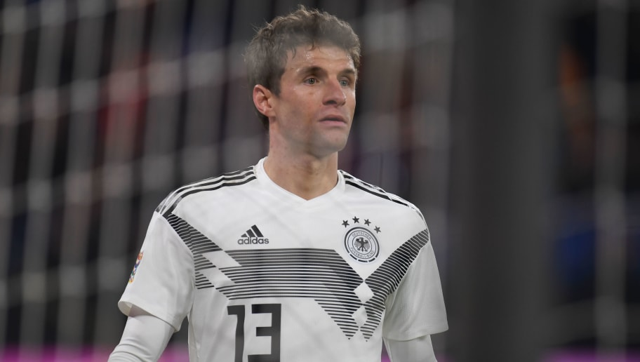 Germany's forward Thomas Mueller plays during the UEFA Nations League football match between Germany and the Netherlands on November 19, 2018 in Gelsenkirchen. (Photo by Patrik STOLLARZ / AFP)        (Photo credit should read PATRIK STOLLARZ/AFP/Getty Images)