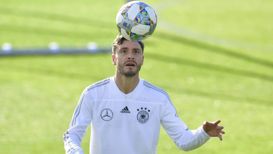 Germany's defender Jonas Hector attends a training session on October 10, 2018 ahead of a Nations League match against the Netherlands to take place on October 13, 2018 in Amsterdam. (Photo by Tobias SCHWARZ / AFP)        (Photo credit should read TOBIAS SCHWARZ/AFP/Getty Images)