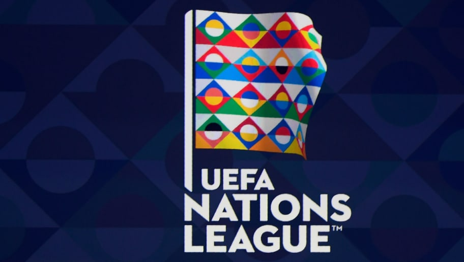 The logo of the UEFA Nations League draw is seen ahead of the competition's draw at the headquarters of the European football organisation in Lausanne, on January 24, 2018. / AFP PHOTO / Philippe DESMAZES        (Photo credit should read PHILIPPE DESMAZES/AFP/Getty Images)