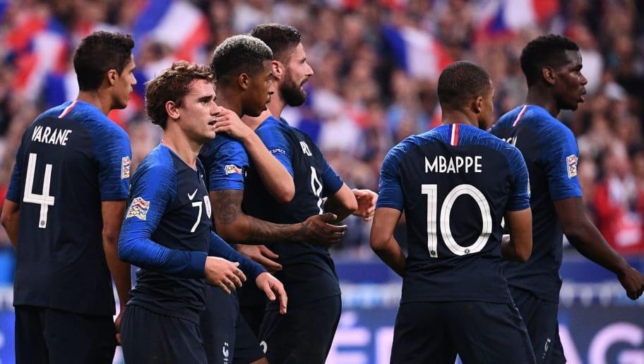 France's forward Antoine Griezmann (2ndL) celebrates with teammates after scoring their second goal on a penalty kick during the UEFA Nations League football match between France and Germany at the Stade de France in Saint-Denis, near Paris on October 16, 2018. (Photo by FRANCK FIFE / AFP)        (Photo credit should read FRANCK FIFE/AFP/Getty Images)