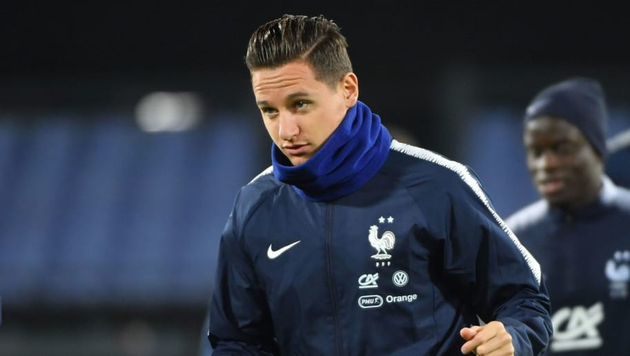 France's forward Florian Thauvin takes part in a training session ahead of the UEFA Nations League football match between Netherlands and France at the Feyenoord Stadium in Rotterdam on November 15, 2018. (Photo by Emmanuel DUNAND / AFP) (Photo credit should read EMMANUEL DUNAND/AFP/Getty Images)