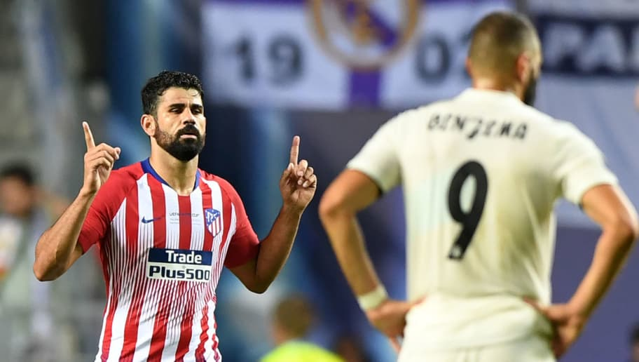 Atletico Madrid's Spanish forward Diego Costa (L) celebrates after scoring a second goal during the UEFA Super Cup football match between Real Madrid and Atletico Madrid at the Lillekula Stadium in the Estonian capital Tallinn on August 15, 2018. (Photo by Janek SKARZYNSKI / AFP)        (Photo credit should read JANEK SKARZYNSKI/AFP/Getty Images)