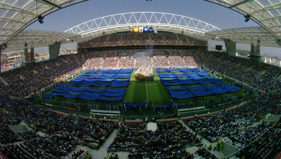 General view of the Euro 2004 opening ceremony taken 12 June 2004 at Dragao stadium in Porto,before the beginning of the Euro 2004 group A first football match between Portugal and Greece, at the European Nations Championship in Portugal. AFP PHOTO  Francois Xavier MARIT        (Photo credit should read FRANCOIS XAVIER MARIT/AFP/Getty Images)