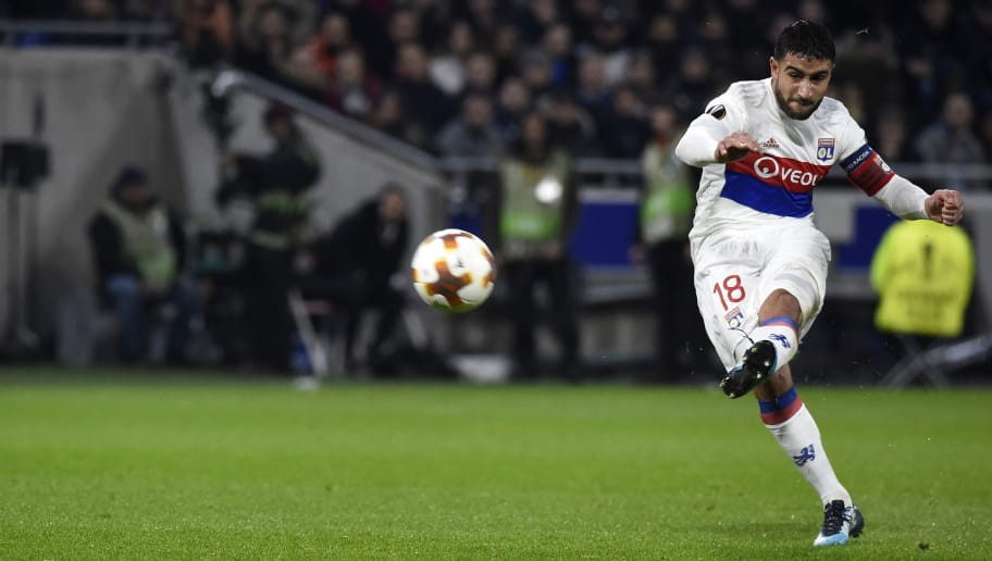 Lyon's French midfielder Nabil Fekir kicks the ball during the Europa League (C3) football match Olympique Lyonnais (OL) vs Villarreal CF (VCF) on February 15, 2018, at the Groupama Stadium in Decines-Charpieu, central-eastern France.  / AFP PHOTO / JEAN-PHILIPPE KSIAZEK        (Photo credit should read JEAN-PHILIPPE KSIAZEK/AFP/Getty Images)