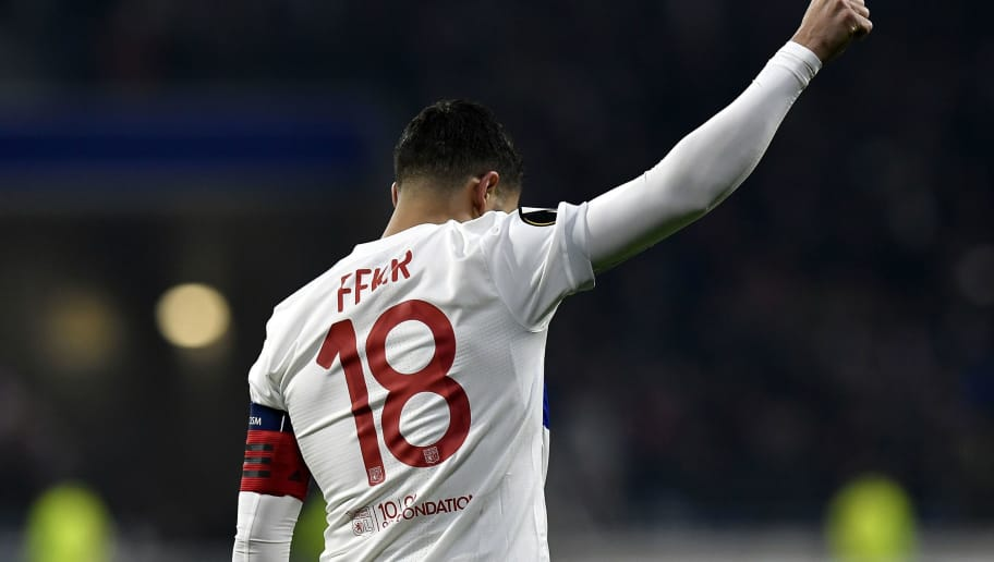 Lyon's French midfielder Nabil Fekir celebrates after scoring a goal during the UEFA Europa League football match between Olympique Lyonnais (OL) and Villarreal CF (VCF) on February 15, 2018, at the Groupama Stadium in Decines-Charpieu, central-eastern France.  / AFP PHOTO / JEFF PACHOUD        (Photo credit should read JEFF PACHOUD/AFP/Getty Images)