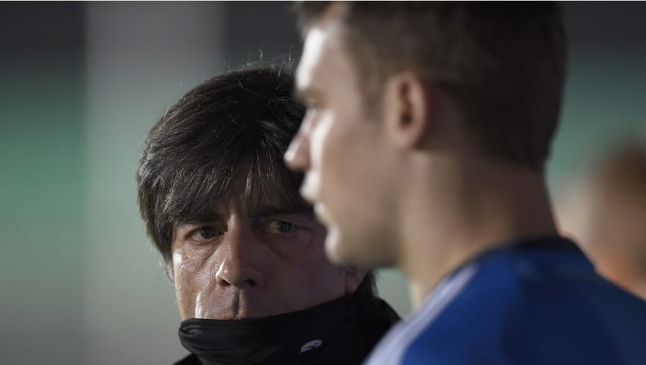 Germany's national football team coach Joachim Loew (L) looks at Germany's goalkeeper Manuel Neuer (R) at the start of a training session at the Herta Berlin Amateurstadion near the Olympiastadion in Berlin, on November 11, 2014, ahead of their Euro 2016 qualifying game against Gibraltar.  AFP PHOTO / ODD ANDERSEN        (Photo credit should read ODD ANDERSEN/AFP/Getty Images)