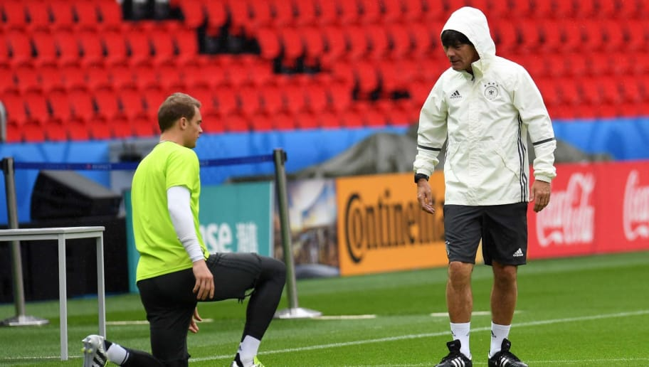 Germany's head coach Joachim Loew (R) talks to Germany's goalkeeper Manuel Neuer during a training session at the stadium Parc des Princes in Paris, France, on June 20, 2016 on the eve of the Euro 2016 football match between Nothern Ireland and Germany. / AFP / PATRIK STOLLARZ        (Photo credit should read PATRIK STOLLARZ/AFP/Getty Images)