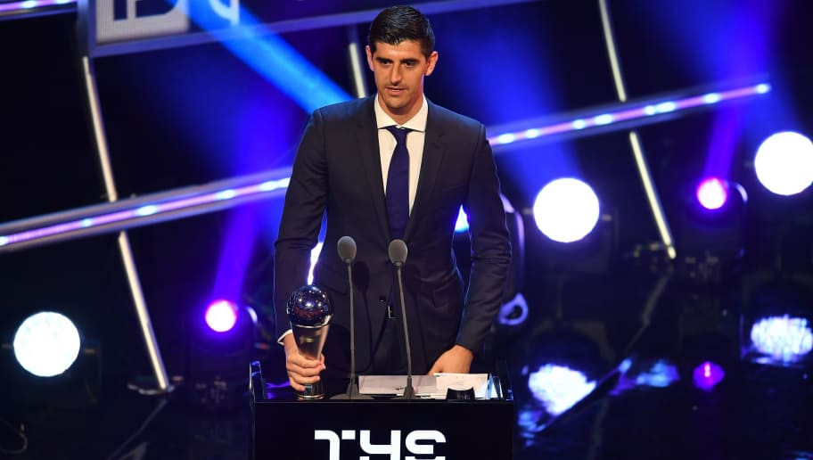 Belgium's goalkeeper Thibaut Courtois speaks after winning the trophy for the Best FIFA goalkeeper of 2018 Award during The Best FIFA Football Awards ceremony, on September 24, 2018 in London. (Photo by Ben STANSALL / AFP)        (Photo credit should read BEN STANSALL/AFP/Getty Images)