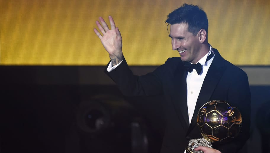 FC Barcelona and Argentina's forward  Lionel Messi waves holding his trophy after receiving the 2015 FIFA Ballon dOr award for player of the year during the 2015 FIFA Ballon d'Or award ceremony at the Kongresshaus in Zurich on January 11, 2016. AFP PHOTO / OLIVIER MORIN / AFP / OLIVIER MORIN        (Photo credit should read OLIVIER MORIN/AFP/Getty Images)