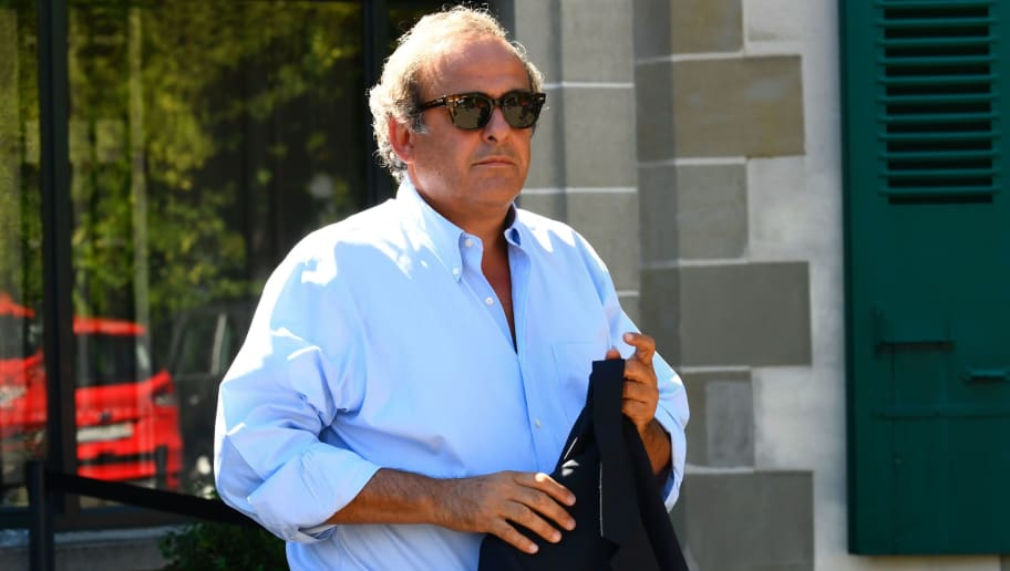 Michel Platini walks out the Court of Arbitration for Sport (CAS) on August 25, 2016 in Lausanne, during an audition to testify at former FIFA President last-chance appeal against his FIFA ban. The former French international is the key figure in the scandal that brought down Blatter. Sepp Blatter is back in court in a final bid for redemption as he seeks to overturn a six-year ban from football following more than a year of scandal.   / AFP / ALAIN GROSCLAUDE        (Photo credit should read ALAIN GROSCLAUDE/AFP/Getty Images)