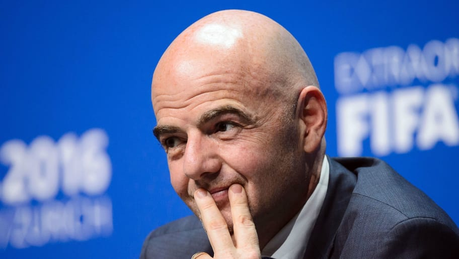 New FIFA President Gianni Infantino holds his first press conference in Zurich on February 26, 2016 following his election. / AFP / FABRICE COFFRINI        (Photo credit should read FABRICE COFFRINI/AFP/Getty Images)