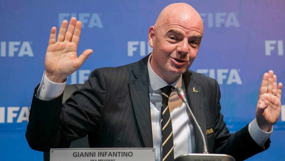President of the International Federation of Association Football (FIFA) Gianni Infantino speaks during a press conference on October 26, 2018, after a FIFA Council meeting at the Convention Center in Kigali. (Photo by Cyril NDEGEYA / AFP)        (Photo credit should read CYRIL NDEGEYA/AFP/Getty Images)