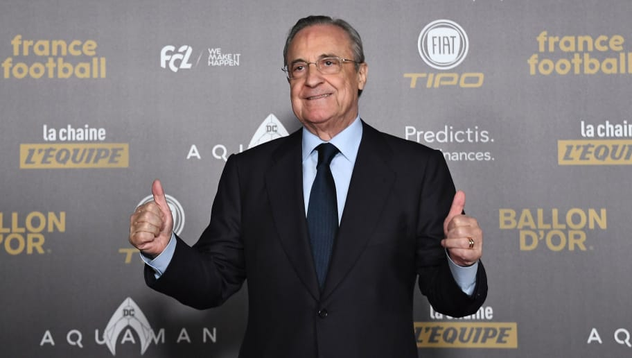 Real Madrid's president Florentino Perez poses upon arrival at the 2018 Ballon d'Or award ceremony at the Grand Palais in Paris on December 3, 2018. (Photo by Anne-Christine POUJOULAT / AFP)        (Photo credit should read ANNE-CHRISTINE POUJOULAT/AFP/Getty Images)