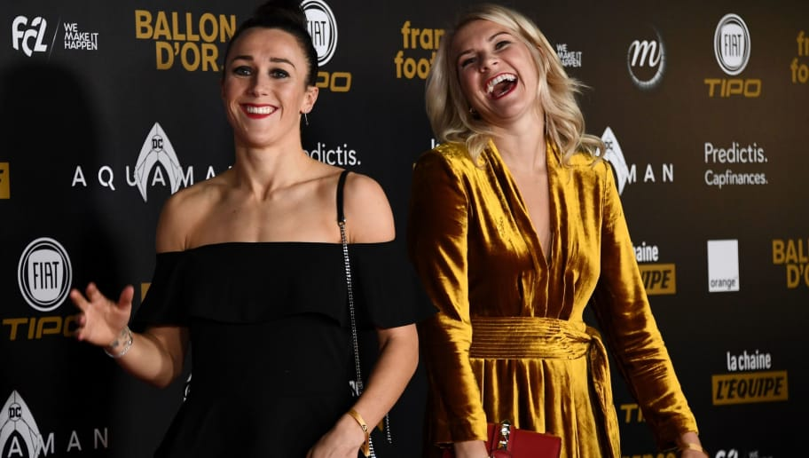 Olympique Lyonnais' Norwegian forward Ada Hegerberg (R) and Olympique Lyonnais' English defender Lucy Bronze pose upon arrival at the 2018 Ballon d'Or award ceremony at the Grand Palais in Paris on December 3, 2018. (Photo by Anne-Christine POUJOULAT / AFP)        (Photo credit should read ANNE-CHRISTINE POUJOULAT/AFP/Getty Images)
