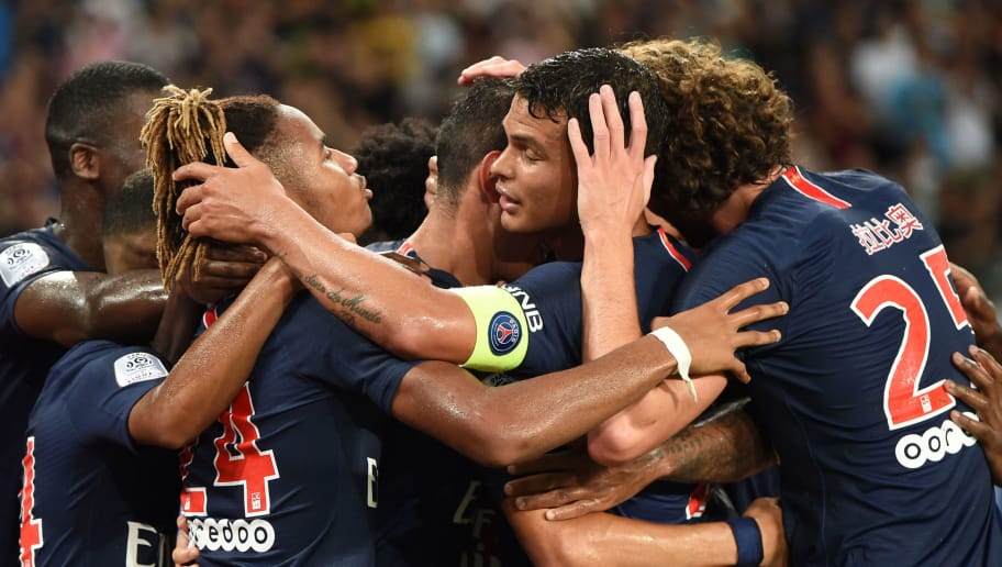 Paris Saint-Germain's players celebrate after a goal during the French Trophy of Champions (Trophee des Champions) football match between Monaco (ASM) and Paris Saint-Germain (PSG) on August 4, 2018 in Shenzhen. (Photo by Anne-Christine POUJOULAT / AFP)        (Photo credit should read ANNE-CHRISTINE POUJOULAT/AFP/Getty Images)