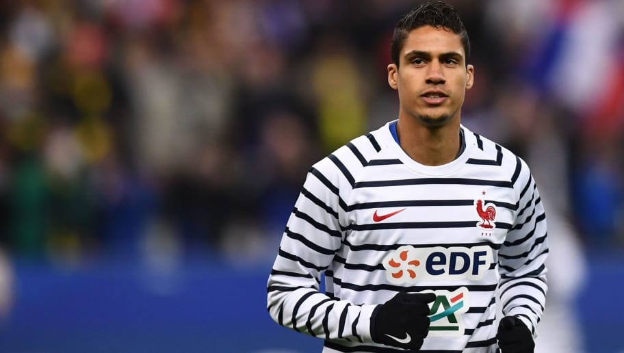 France's defender Raphael Varane takes part in a warm up session prior to the friendly football match between France and Colombia at the Stade de France, in Saint-Denis, on the outskirts of Paris, on March 23, 2018. / AFP PHOTO / FRANCK FIFE        (Photo credit should read FRANCK FIFE/AFP/Getty Images)