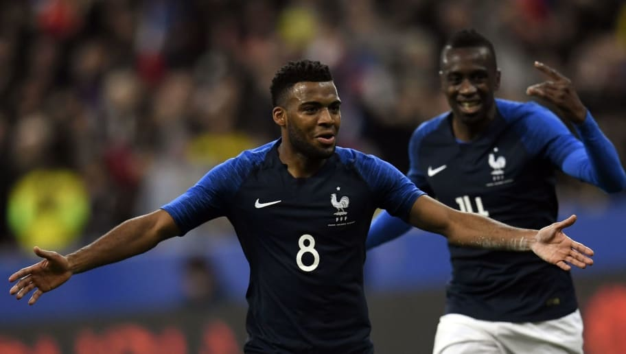 France's midfielder Thomas Lemar celebrates with teammates after scoring a goal during the friendly football match between France and Colombia at the Stade de France, in Saint-Denis, on the outskirts of Paris, on March 23, 2018. / AFP PHOTO / CHRISTOPHE SIMON        (Photo credit should read CHRISTOPHE SIMON/AFP/Getty Images)
