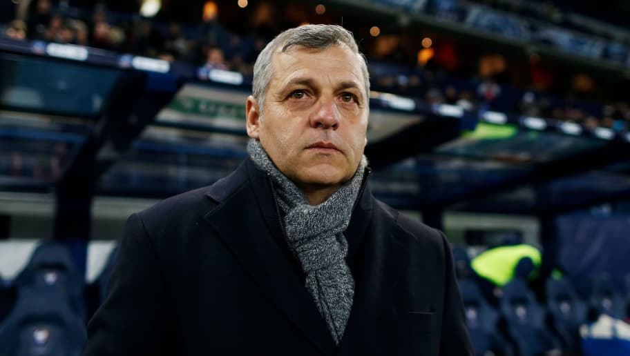 Lyon's French head coach Bruno Genesio  looks on before the French Cup quarter-final football match between Caen (SMC) and Lyon (OL) on March 1, 2018, at the Michel d'Ornano stadium in Caen, northwestern France.  / AFP PHOTO / CHARLY TRIBALLEAU        (Photo credit should read CHARLY TRIBALLEAU/AFP/Getty Images)