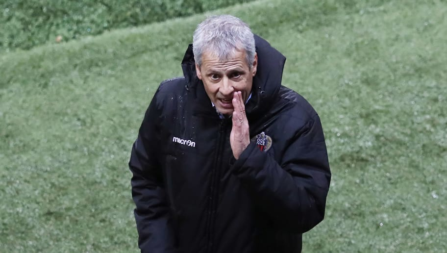 Nice's Swiss head coach Lucien Favre reacts during the French League Cup football match between Nice and Monaco at The 'Allianz Riviera' Stadium in Nice on January 9, 2018.   / AFP PHOTO / VALERY HACHE        (Photo credit should read VALERY HACHE/AFP/Getty Images)