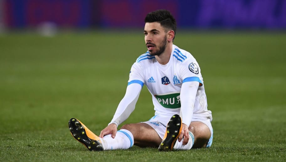 Marseille's French midfielder Morgan Sanson reacts during during the French Cup quarter-final football match between Paris Saint-Germain (PSG) and Marseille (OM) at the Parc des Princes stadium in Paris on February 28, 2018. / AFP PHOTO / FRANCK FIFE        (Photo credit should read FRANCK FIFE/AFP/Getty Images)