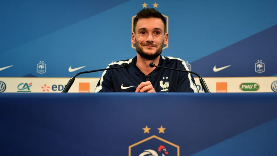 French goalkepper Hugo Lloris gives a press conference on October 10, 2018 in Guingamp, western France, on the eve of the friendly football match France vs Iceland. (Photo by LOIC VENANCE / AFP)        (Photo credit should read LOIC VENANCE/AFP/Getty Images)