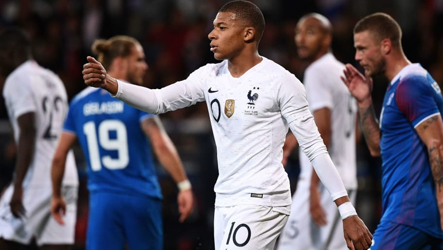 France's forward Kylian Mbappe reacts during the friendly football match between France and Iceland at the Roudourou Stadium in Guingamp, western France on October 11, 2018. (Photo by FRANCK FIFE / AFP)        (Photo credit should read FRANCK FIFE/AFP/Getty Images)