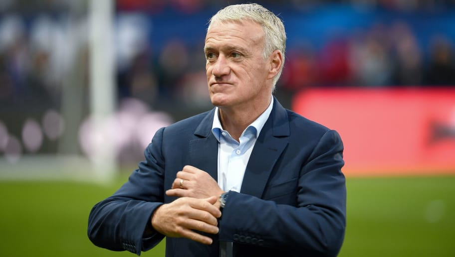 France's head coach Didier Deschamps walks on the pitch ahead of the friendly football match between France and Iceland at the Roudourou Stadium in Guingamp, western France, on October 11, 2018. (Photo by FRANCK FIFE / AFP)        (Photo credit should read FRANCK FIFE/AFP/Getty Images)