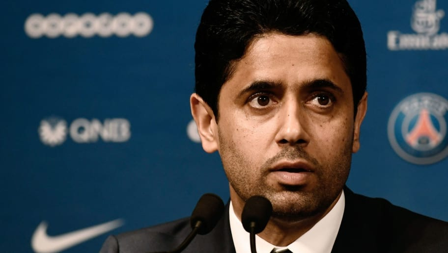 French Ligue 1 football club Paris Saint-Germain's president Nasser Al-Khelaifi speaks during a press conference to officially present the club's new coach on May 20, 2018 at the Parc des Princes stadium in Paris. (Photo by Philippe LOPEZ / AFP)        (Photo credit should read PHILIPPE LOPEZ/AFP/Getty Images)
