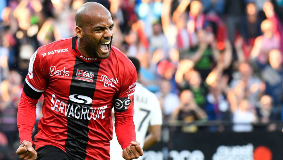 Guingamp's French forward Jimmy Briand celebrates after scoring a goal during the French L1 football match between Guingamp and Monaco on April 21, 2018 at the Roudourou stadium in Guingamp, western France. (Photo by DAMIEN MEYER / AFP)        (Photo credit should read DAMIEN MEYER/AFP/Getty Images)