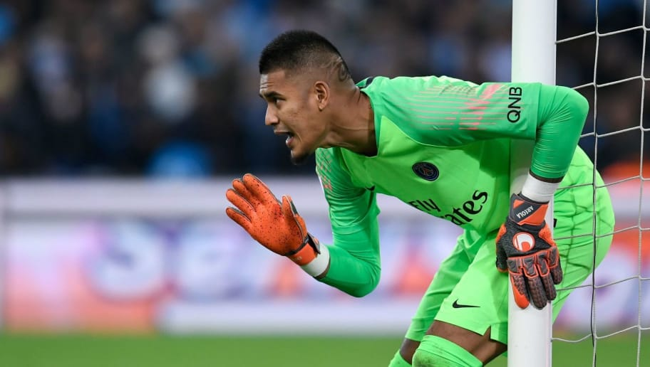 Paris Saint-Germain's French goalkeeper Alphonse Areola reacts during the French L1 football match between Olympique de Marseille (OM) and Paris Saint-Germain (PSG) at the Velodrome stadium, in Marseille, on October 28, 2018. (Photo by CHRISTOPHE SIMON / AFP)        (Photo credit should read CHRISTOPHE SIMON/AFP/Getty Images)