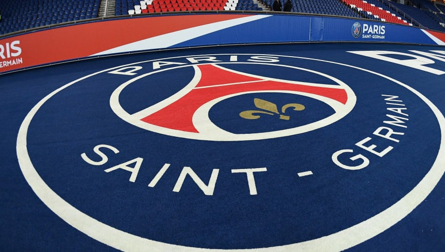 The logo of the Paris Saint-Germain is pictured prior to the French L1 football match between Paris Saint-Germain (PSG) and Lille (LOSC) at the Parc des Princes stadium, in Paris, November 2, 2018. (Photo by FRANCK FIFE / AFP)        (Photo credit should read FRANCK FIFE/AFP/Getty Images)