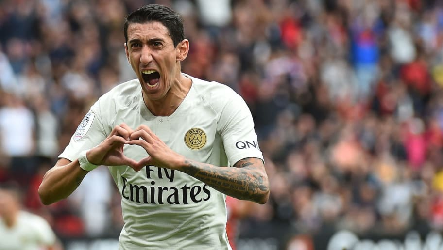 Paris Saint-Germain's Argentine midfielder Angel Di Maria celebrates after scoring the equalizer during the French L1 football match between Rennes and Paris Saint-Germain at the Roazhon Park stadium in Rennes, on September 23, 2018. (Photo by JEAN-FRANCOIS MONIER / AFP)        (Photo credit should read JEAN-FRANCOIS MONIER/AFP/Getty Images)