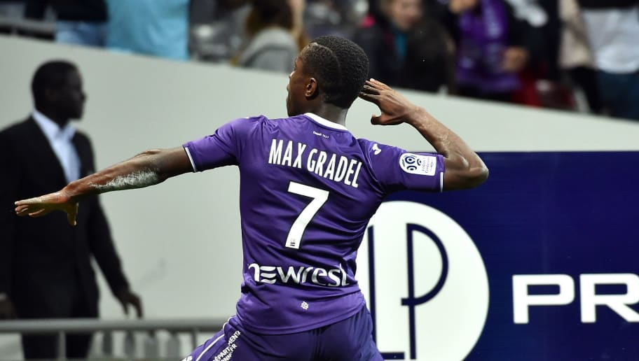 Toulouse's French forward Max-Alain Gradel celebrates after scoring his team's first goal during the French L1 match between Toulouse and Guingamp at The Municipal Stadium in Toulouse, southern France on May 19, 2018. (Photo by REMY GABALDA / AFP)        (Photo credit should read REMY GABALDA/AFP/Getty Images)