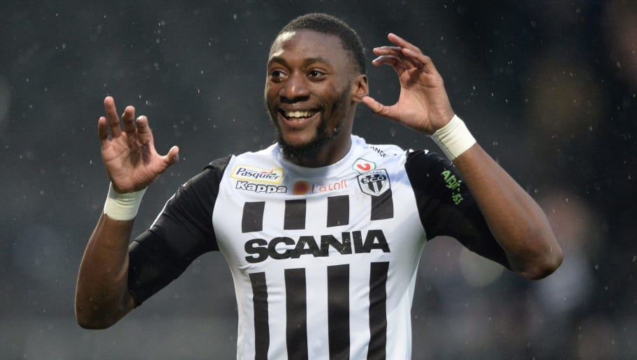 Angers' Cameroonian forward Karl Toko Ekambi reacts after scoring a goal during the French L1 Football match between Angers (SCO) and Strasbourg (RCSA), on April 7, 2018 in Raymond-Kopa Stadium, in Angers, northwestern France.  / AFP PHOTO / JEAN-FRANCOIS MONIER        (Photo credit should read JEAN-FRANCOIS MONIER/AFP/Getty Images)