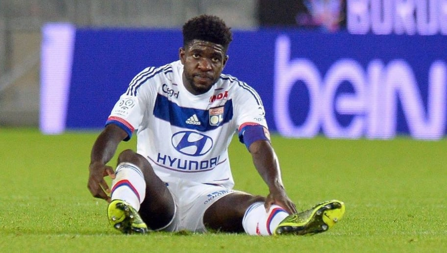 Lyon's French Cameroonian defender Samuel Umtiti reacts during the French Ligue1 football match between Bordeaux (FCGB) and Lyon (OL) on September 26, 2015 at the Matmut Atlantique stadium in Bordeaux, southwestern France. AFP PHOTO / NICOLAS TUCAT        (Photo credit should read NICOLAS TUCAT/AFP/Getty Images)