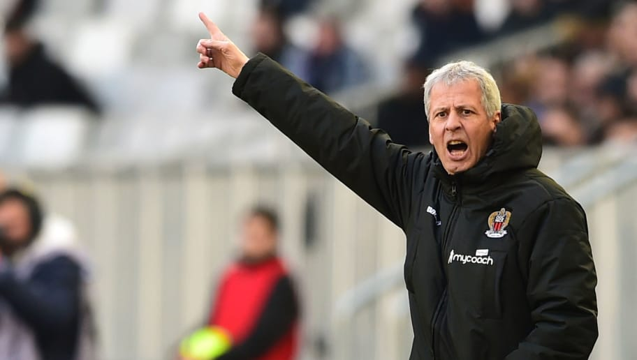 Nice's Swiss head coach Lucien Favre gestures during the French L1 football match between Bordeaux (FCGB) and Nice on February 25, 2018 at the Matmut Atlantique stadium in Bordeaux, southwestern France.  / AFP PHOTO / NICOLAS TUCAT        (Photo credit should read NICOLAS TUCAT/AFP/Getty Images)