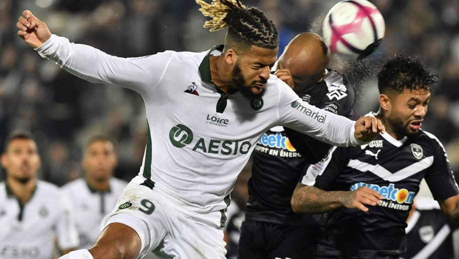 Saint-Etienne's French forward Lois Diony (L) vies with Bordeaux's Brazilian midfielder Otavio (R) during the French L1 football match between FC Girondins de Bordeaux and AS Saint-Etienne at the Matmut Atlantique stadium in Bordeaux, southwestern France on December 5, 2018. (Photo by NICOLAS TUCAT / AFP)        (Photo credit should read NICOLAS TUCAT/AFP/Getty Images)