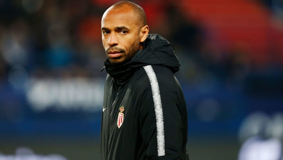 Monaco's French coach Thierry Henry looks on prior to the French Ligue 1 football match between Caen (SMC) and Monaco (ASM) on November 24, 2018, at the Michel d'Ornano stadium, in Caen, northwestern France. (Photo by CHARLY TRIBALLEAU / AFP)        (Photo credit should read CHARLY TRIBALLEAU/AFP/Getty Images)