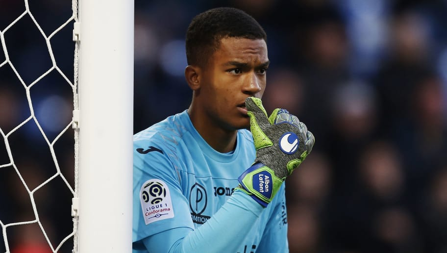 Toulouse's French goalkeeper Alban Lafont looks on during the French L1 football match between Caen (SMC) and Toulouse (TFC) on April 25, 2018, at the Michel d'Ornano stadium, in Caen, northwestern France. (Photo by CHARLY TRIBALLEAU / AFP)        (Photo credit should read CHARLY TRIBALLEAU/AFP/Getty Images)