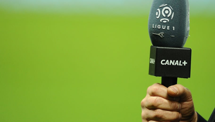 A microphone of the French TV Canal Plus is pictured during the French L1 football match between Nantes (FCN) and Lille (LOSC) on October 25, 2013 at the Beaujoire stadium in Nantes, western France. AFP PHOTO / JEAN-SEBASTIEN EVRARD        (Photo credit should read JEAN-SEBASTIEN EVRARD/AFP/Getty Images)