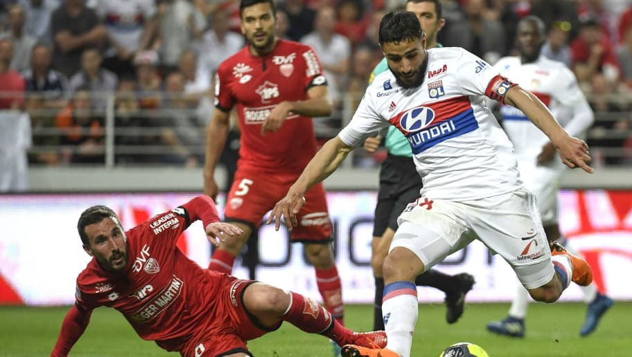 Lyon's French midfielder Nabil Fekir (R) vies with Dijon's French midfielder Romain Amalfitano (L) during the French L1 football match between Dijon FCO and Olympique Lyonnais, on April 20, 2018, at the Gaston Gérard Stadium in Dijon, central France. (Photo by PHILIPPE DESMAZES / AFP)        (Photo credit should read PHILIPPE DESMAZES/AFP/Getty Images)
