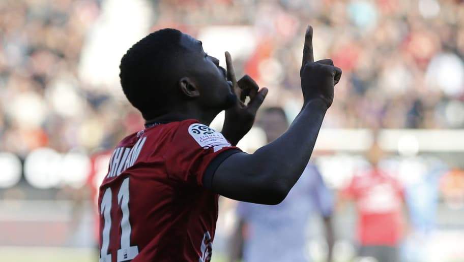 Guingamp's French forward Marcus Thuram celebrates after scoring a goal during the French L1 football match between Guingamp (EAG) and Bordeaux (FCGB) on September 23, 2018 at the Roudourou stadium in Guingamp, northwestern France. (Photo by CHARLY TRIBALLEAU / AFP)        (Photo credit should read CHARLY TRIBALLEAU/AFP/Getty Images)