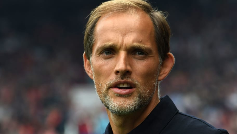 Paris Saint-Germain's German coach Thomas Tuchel looks on before the French L1 football match between Guingamp and Paris Saint-Germain, at the Roudourou stadium in Guingamp on August 18, 2018. (Photo by FRED TANNEAU / AFP)        (Photo credit should read FRED TANNEAU/AFP/Getty Images)