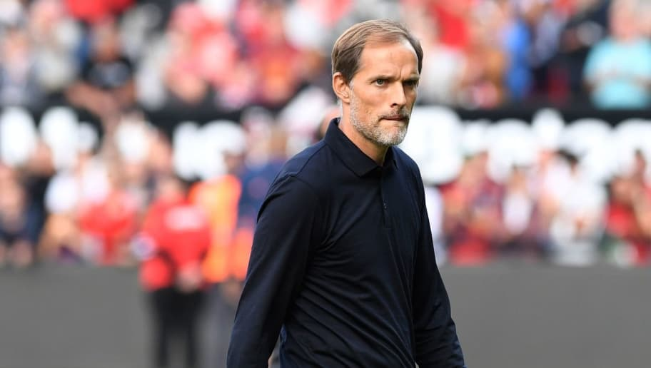 Paris Saint-Germain's German coach Thomas Tuchel walks on the pitch after the French L1 football match between Guingamp and Paris Saint-Germain, at the Roudourou stadium in Guingamp on August 18, 2018. (Photo by FRED TANNEAU / AFP)        (Photo credit should read FRED TANNEAU/AFP/Getty Images)