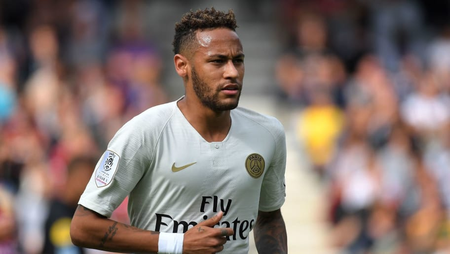 Paris Saint-Germain's Brazilian forward Neymar looks on during the French L1 football match between Guingamp and Paris Saint-Germain, at the Roudourou stadium in Guingamp on August 18, 2018. (Photo by LOIC VENANCE / AFP)        (Photo credit should read LOIC VENANCE/AFP/Getty Images)