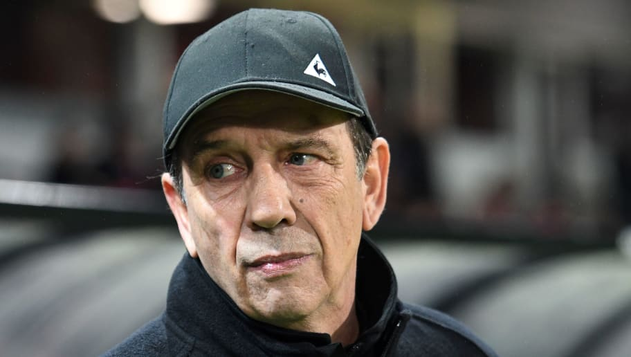 Saint-Etienne's newly named  French head coach Jean-Louis Gasset attends the French L1 football match between Guingamp (EAG) and Saint-Etienne (ASSE) on December 20, 2017, at the Roudourou Stadium in Guingamp, western France.  / AFP PHOTO / FRED TANNEAU        (Photo credit should read FRED TANNEAU/AFP/Getty Images)