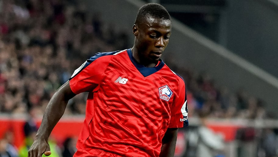 Lille's Ivorian forward Nicolas Pepe controls the ball during the French L1 football match Lille (LOSC) vs Olympique de Marseille (OM) on September 30 2018 at the ' Pierre Mauroy ' stadium in Villeneuve-d'Ascq northern France. (Photo by PHILIPPE HUGUEN / AFP)        (Photo credit should read PHILIPPE HUGUEN/AFP/Getty Images)