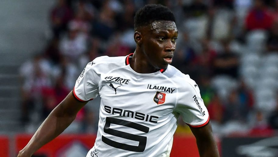 Rennes' Senegal forward Ismaila Sarr  during their France L1 football match Lille vs Rennes on August 11 2018 at the ' Pierre Mauroy ' Stadium in Villeneuve d'Ascq northern France. (Photo by PHILIPPE HUGUEN / AFP)        (Photo credit should read PHILIPPE HUGUEN/AFP/Getty Images)