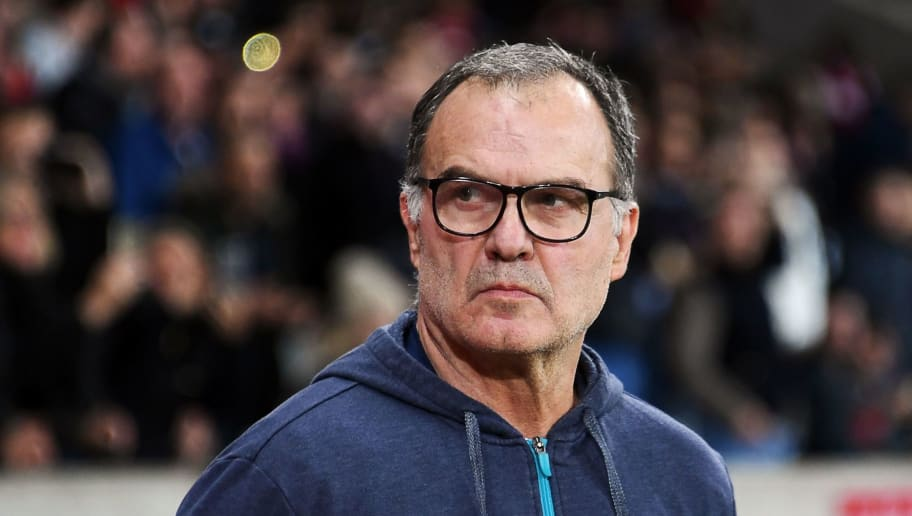 Lille's Argentinian head coach Marcelo Bielsa looks on  during the French L1 football match between Lille (LOSC) and Saint-Etienne (ASSE) at the Pierre-Mauroy Stadium in Villeneuve d'Ascq, near Lille, northern France, on November 17 2017. / AFP PHOTO / DENIS CHARLET        (Photo credit should read DENIS CHARLET/AFP/Getty Images)