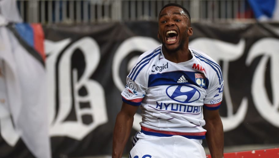 Lyon's French forward Aldo Kalulu reacts after scoring during the French L1 football match between Olympique Lyonnais against Sporting Club de Bastia on September 23, 2015 at the Gerland stadium in Lyon, Southeastern France.                                    AFP PHOTO / PHILIPPE DESMAZES        (Photo credit should read PHILIPPE DESMAZES/AFP/Getty Images)